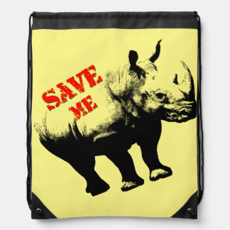 Vector  Silhouette Rhino  Save Me Drawstring Bag