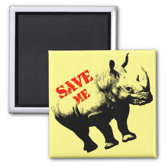 Vector  Silhouette Rhino  Save Me Magnet