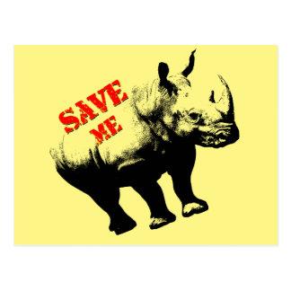 Vector  Silhouette Rhino  Save Me Postcard