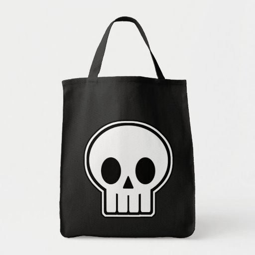 Vector Skull Halloween Trick or Treat Grocery Tote Bag