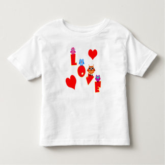 Vector  text Love  with four Owls Toddler T-Shirt