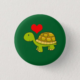 Vector tortoise with heart 3 cm round badge