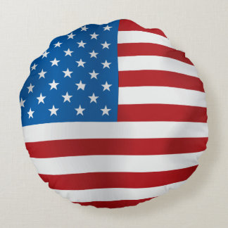 Vector  USA Flag Round Cushion
