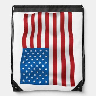 Vector  USA Waveing Flag Drawstring Bag
