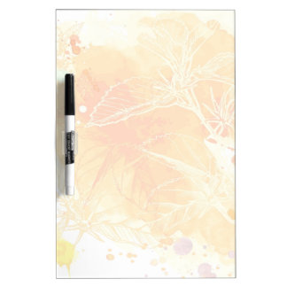 Vector Watercolor Background & Tropical Flowers Dry Erase Board