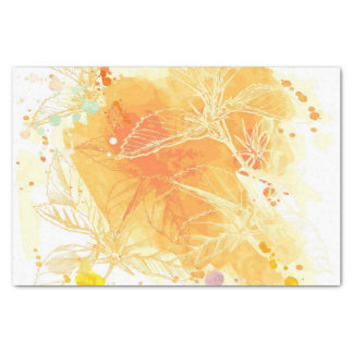 Vector Watercolor Background & Tropical Flowers Tissue Paper