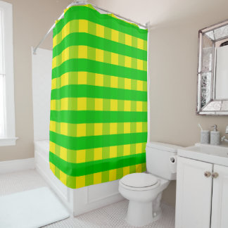 Vector Yellow and  green checked pattern Shower Curtain