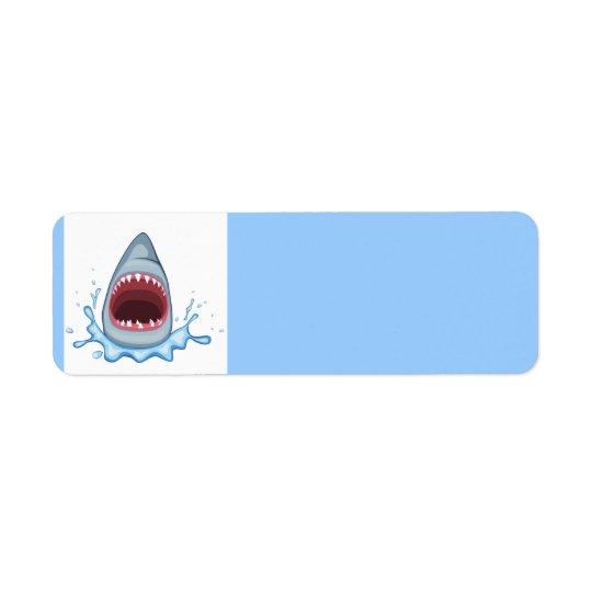 vectorstock_383155 Cartoon Shark Teeth hungry Return Address Label