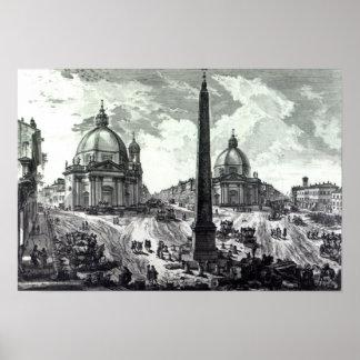 Veduta della Piazza del Popolo, c.1750 Poster