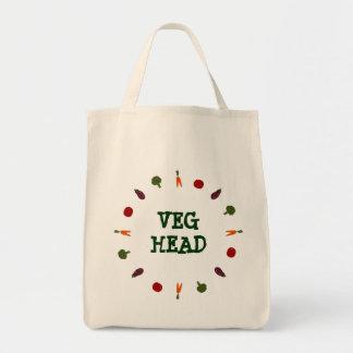Veg Head Colorful Veggies Vegetarian Vegan Tote Canvas Bag