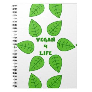 Vegan 4 Life Green Leaves Notebook