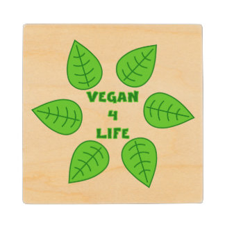 Vegan 4 Life Green Leaves Wood Coaster
