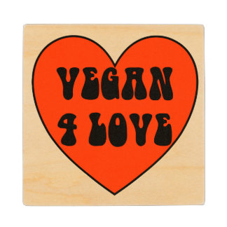 Vegan 4 Love Wood Coaster