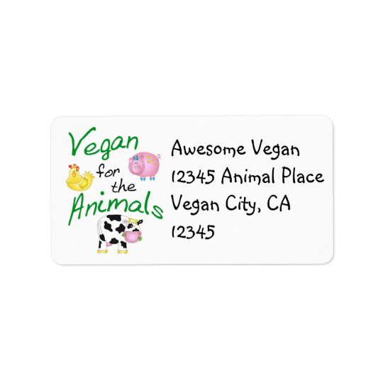 Vegan Address Label with Animals