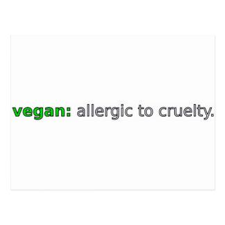 Vegan - Allergic to Cruelty Post Card