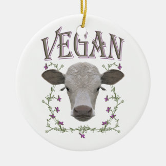 Vegan - animals want to live christmas ornament