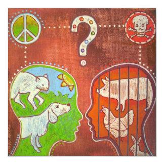 Vegan anti speciesism 13 cm x 13 cm square invitation card