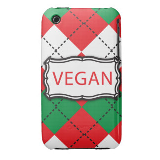 Vegan Argyle Red and Green iPhone 3 Cover