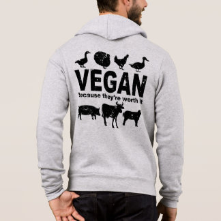 VEGAN because they're worth it (blk) Hoodie