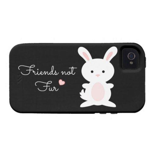 """Vegan Bunny """"Friends Not Fur"""" iPhone 4 Cases"""