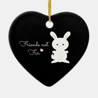 "Vegan Bunny ""Friends Not Fur"" Christmas Ornament"