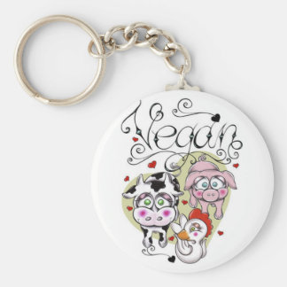Vegan Button Keychain