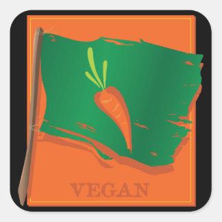Vegan Carrot Flag Square Sticker