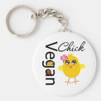 Vegan Chick Basic Round Button Key Ring