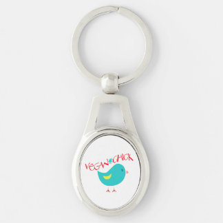 Vegan Chick Silver-Colored Oval Metal Keychain