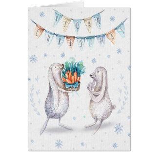 Vegan Christmas Greeting / rabbits Card