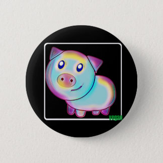 Vegan coloured pig 6 cm round badge