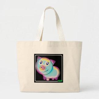 Vegan coloured pig. large tote bag