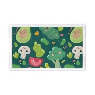 Vegan cute cartoon vegetable characters pattern