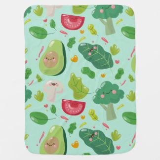 Vegan cute cartoon vegetable characters pattern baby blanket