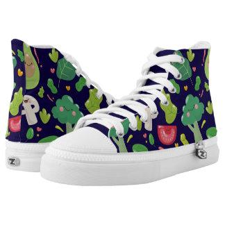 Vegan cute cartoon vegetable characters pattern printed shoes