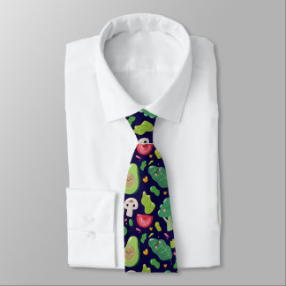 Vegan cute cartoon vegetable characters pattern tie