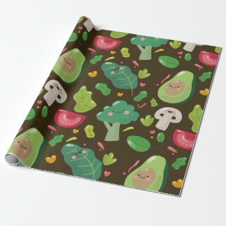 Vegan cute cartoon vegetable characters pattern wrapping paper