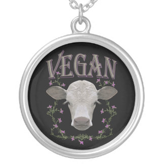 Vegan decoration 03 silver plated necklace