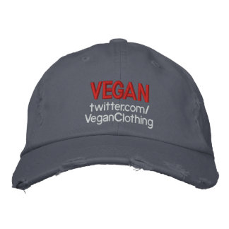 VEGAN Distressed twitter Embroidered Hat