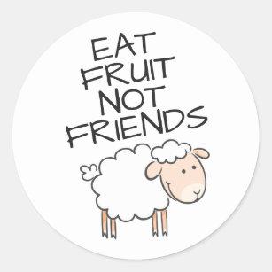 Vegan eat fruits not friends cute white sheep classic round sticker
