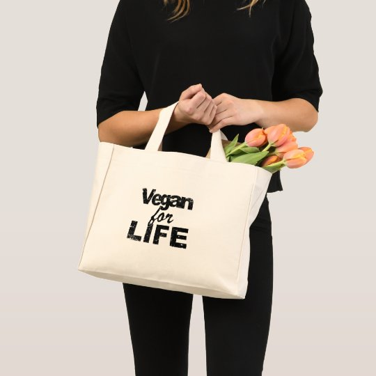 Vegan for LIFE (blk) Mini Tote Bag