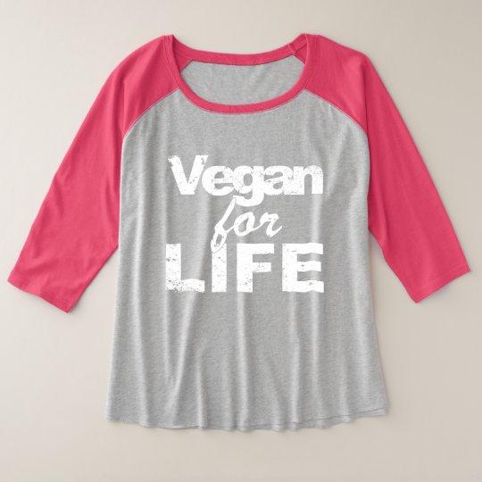Vegan for LIFE (wht) Plus Size Raglan T-Shirt