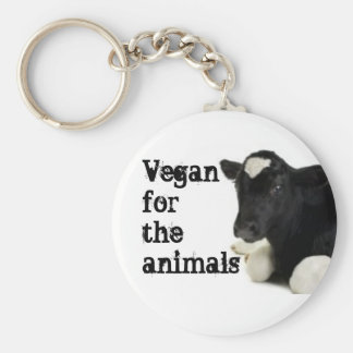 Vegan for the animals - Calf Basic Round Button Key Ring