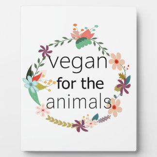 Vegan for the animals floral design photo plaque