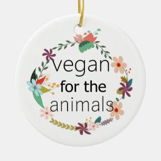 Vegan for the animals floral design round ceramic decoration