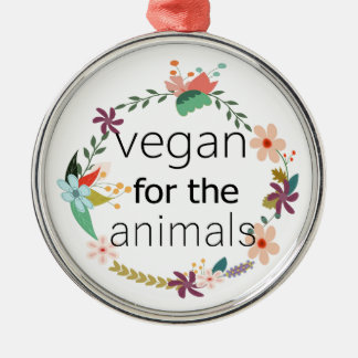 Vegan for the animals floral design Silver-Colored round decoration