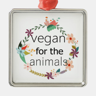 Vegan for the animals floral design Silver-Colored square decoration