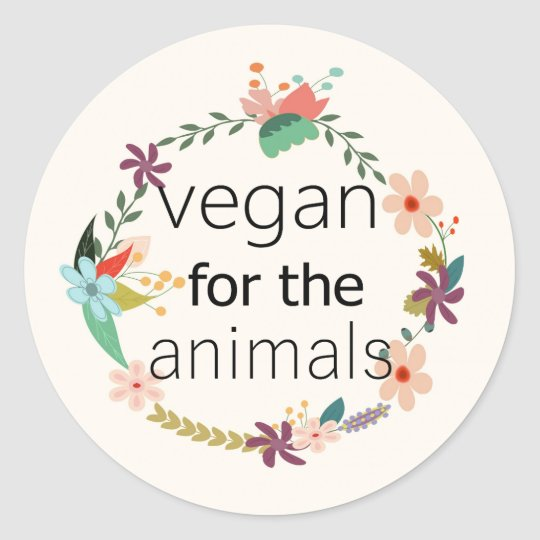 Vegan for the animals floral design sticker