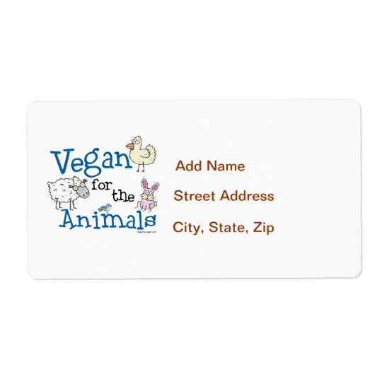 Vegan for the Animals Shipping Label