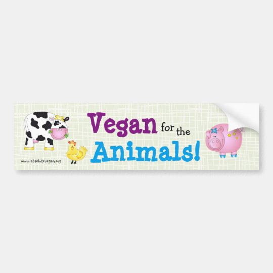 """Vegan for the Animals!"" with cute animals Bumper"
